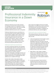 Cover Overview Professional Indemnity Insurance in a Down Economy
