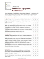 Restaurant Operations - Equipment Maintenance Checklist