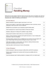 Restaurant Operations - Handling Money Checklist