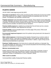 RRisk Summary & Cover Checklist Plastic Goods Manufacturing