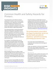 Manufacturing Risk Insights Common Health and Safety Hazards for Printers