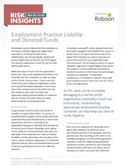 Not-for-Profit Risk Insights Employment Practice Liability and Donated Funds