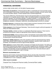 Risk Summary & Cover Checklist Financial Advisors